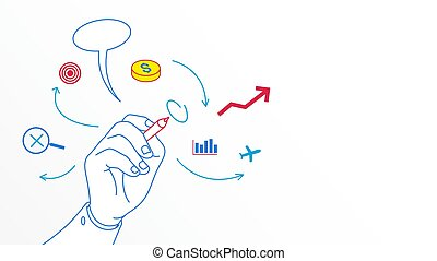Business mind map hand drawing