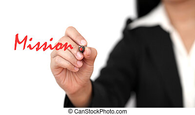 business mission - asian business woman hand writing Mission...