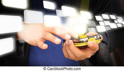 business, mobile, écran, main, téléphone, toucher, homme