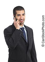 business, mobile, heureux, jeune, arabe, téléphone, homme