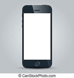 business, mobile, isolé, téléphone, vecteur, arrière-plan noir, blanc