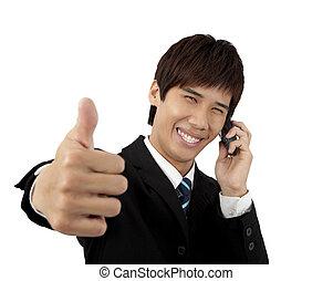 business, mobile, jeune, haut, téléphone, pouces, homme