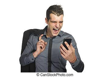 business, mobile, téléphone portable, crier, homme