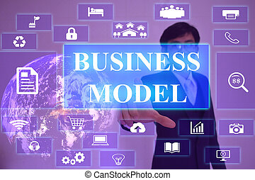 BUSINESS MODEL concept  presented by  businessman touching on  virtual  screen ,image element furnished by NASA
