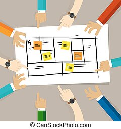 business model framework. team discuss plan for developing company for future. concept of teamwork collaboration and participation