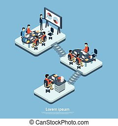 Business Modern Office Interior, Company Structure Floor...