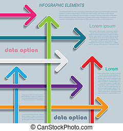 business, moderne, flèches, gabarit, infographics, ton