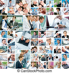 Business moments - Collage with businesspeople working ...