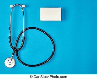 business, monde médical, papier, stéthoscope, cartes, vide