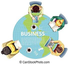 business, mondiale, autour de, gens fonctionnement