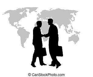 business, mondiale, poignée main