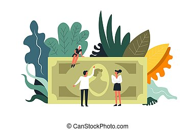 Business money and finance work, teamwork of people vector....