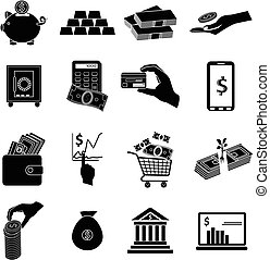 business money icons set