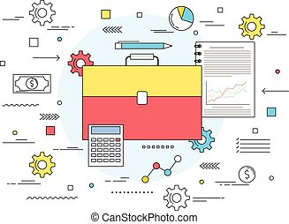 Business money management concept line style illustration