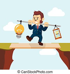 business monkey carrying bulb and hourglass on plank