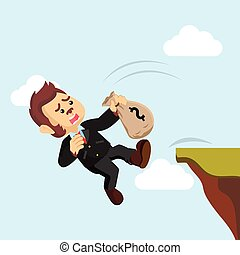 business monkey falling from cliff
