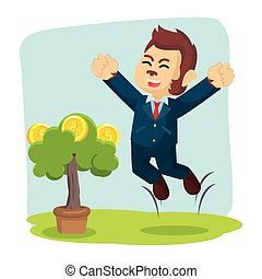 business monkey happy his coin tree grow