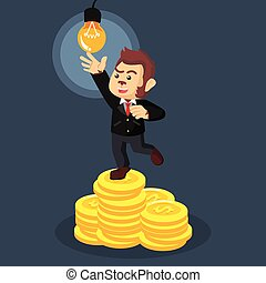 business monkey on coin stack trying to reach bulb