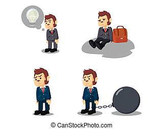 business monkey tired cartoon set