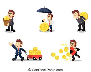 business monkey with coin cartoon set