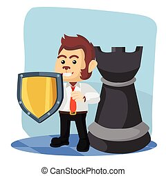 business monkey with shield and rook chess piece