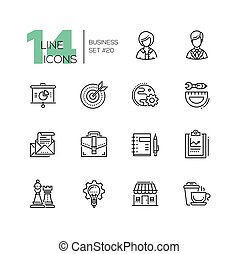 Business - monochromatic vector modern single line icons set. Male, female person, pie chart, globe, gear, protractor, pencil, letter, case, notepad, chess king, queen, light bulb, house, coffee.