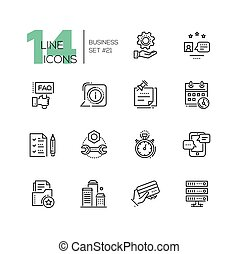 Business - monochromatic modern single line icons set -...