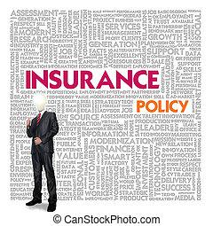 business, mot, nuage, pour, business, et, assurance, concept, politique