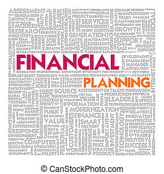 business, mot, nuage, pour, concept affaires, planification financière