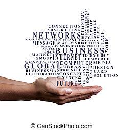 business, mots, mains