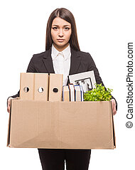 Business move - Business woman holding box with office...