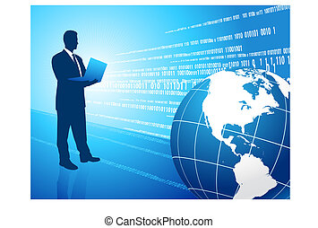 Business msn on blue background with a globe