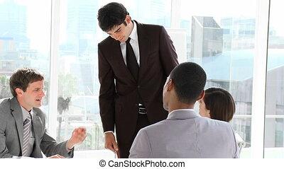 business, multi culturel, esprit, réunion