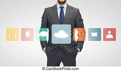 close up of businessman in suit with menu icons