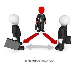 business národ, concept., vůdcovství, arrows., malý, 3