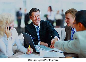 business národ, ruce, up, meeting., dohotovení, otřes