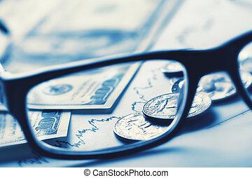 business, nature morte, à, lunettes, dollars, et, horaire