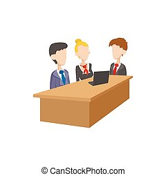 Business negotiations icon, cartoon style