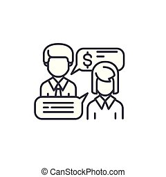 Business negotiations linear icon concept. Business negotiations line vector sign, symbol, illustration.