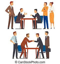 Business Negotiations Set, Busines Partners Sitting at Table and Discussing Work Strategy, Exchanging Information Cartoon Vector Illustration