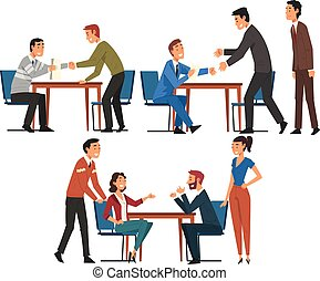 Business Negotiations Set, Businesspeople Sitting at Table and Discussing Work Strategy, Exchanging Information, Solving Problems Cartoon Vector Illustration