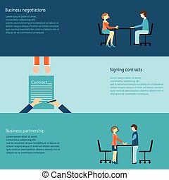 Set of business negotiations, signing contracts, partnership, business concept, vector illustration.