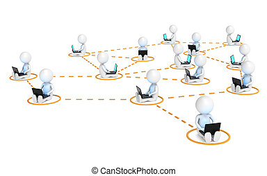 Business Network - 3D little human characters X14 in a...