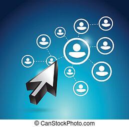 business network and cursor illustration design