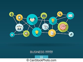 Business network. background with integrate flat icons -...