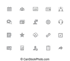 Business Network Icons // 32px White Series