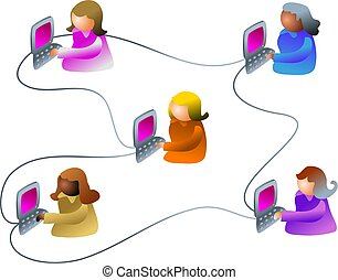 business network - network of business people - female...