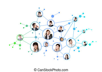 Business network, Asian business people use mobile phones to...