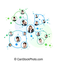 Business network, Asian business people use mobile phone to...