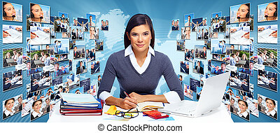 Business networking collage. - Business networking college. ...
